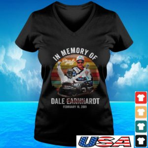 In memory of Dale Earnhardt February 18 2001 signature v-neck t-shirt