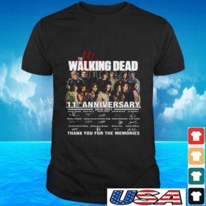 The Walking Dead 11th anniversary 2010 2021 thank you for the memories signatures t-shirt