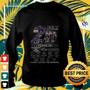 25 year of the greatest NFL teams Ravens signature thank you for the memories sweater