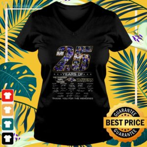 25 year of the greatest NFL teams Ravens signature thank you for the memories v-neck t-shirt