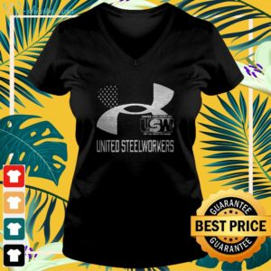 United Steelworkers Unity And Strength For Workers Flag v-neck t-shirt
